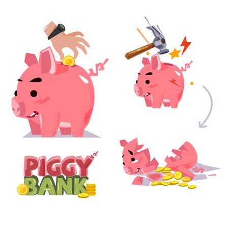 Piggy bank in verschillende acties. munt invoegen. smash met hamer. gebroken spaarvarken - vectorillustratie