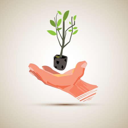 Pianta con la mano. salvare il concetto di albero - illustrazione vettoriale Archivio Fotografico - 86905604