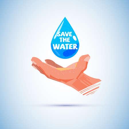 인간의 손으로 물입니다. 물 개념 - 벡터 일러스트 저장