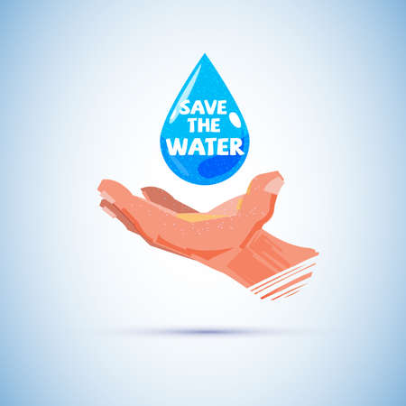 Human hand with water. save the water concept - vector illustration