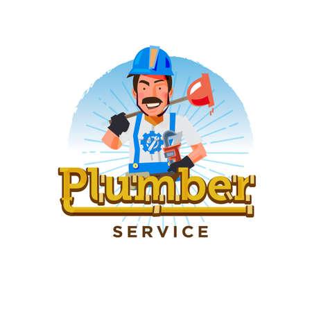 Plumber logo. Typographic design character design - vector illustration