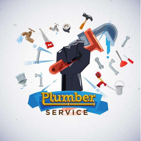 Plumber service banner.