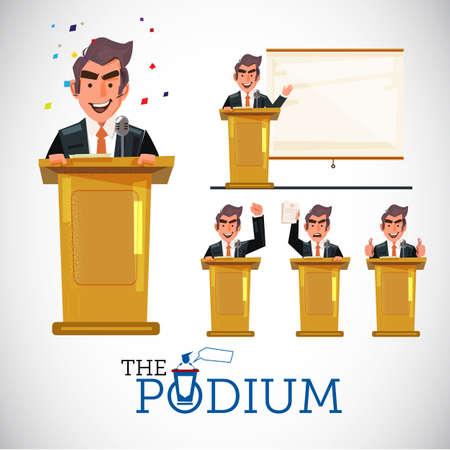 Smart man speaking on podium in various action. Character design. Public speech concept set - vector illustration Çizim