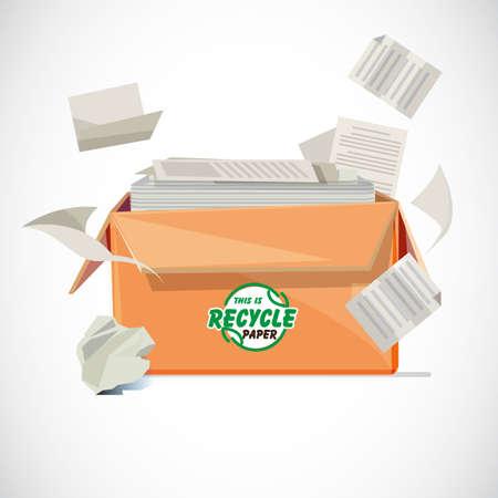 Boîte de papier recyclé avec design typographique ou logo en face de la boîte - illustration vectorielle