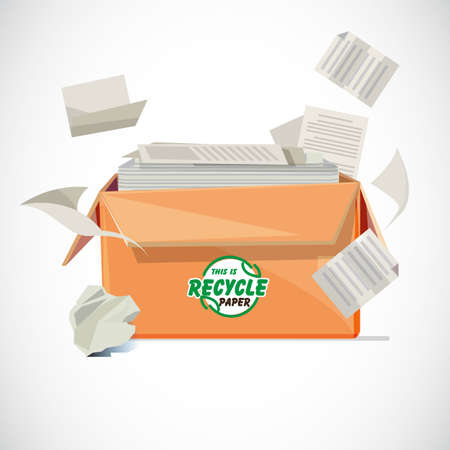 Box of recycle paper with typographic or logotype design in front of the box - vector illustration
