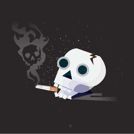 Human smoker skull hold cigarette on mouth. smoking kill concept - vector illustration Ilustração