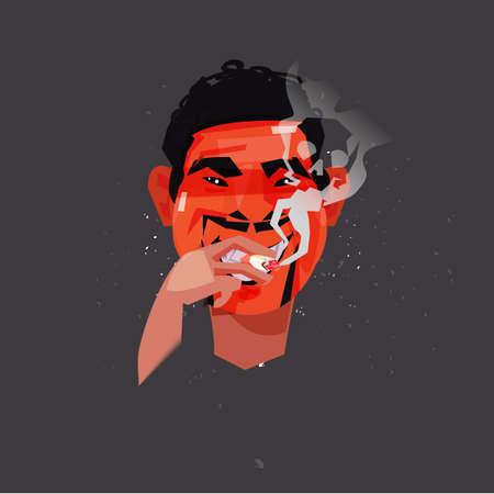 Man smoking  cigarette with toxic skull smoke. smoking kill concept - vector illustration