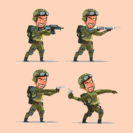 stocky: soldier holding various guns and bomb preparing to shoot. Soldier character design - vector illustration