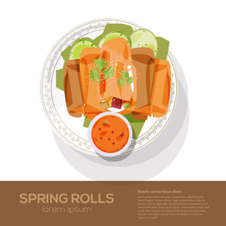 fried spring rolls on a plate - vector illustration Ilustrace
