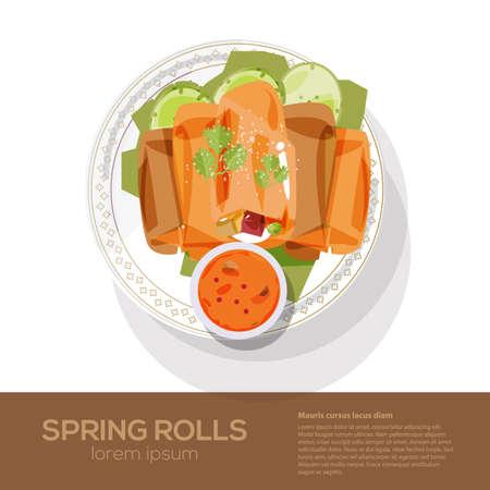 fried spring rolls on a plate - vector illustration Illustration