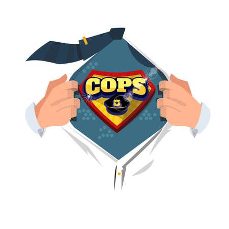 男性コミック スタイル - ベクトル図に「警官アイコン」を表示するオープン シャツ
