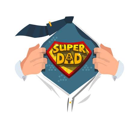 """Man open shirt om """"Super Dad typographic"""" in comic-stijl te laten zien. super vader concept - vectorillustratie"""