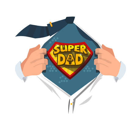 "Man open shirt to show ""Super Dad typographic "" in comic style. super father concept - vector illustration"