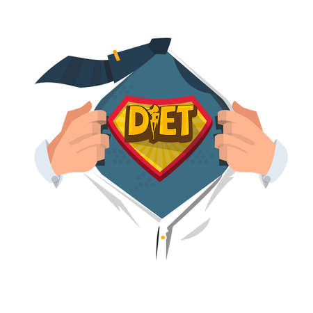 Man open shirt to show Diet symbol in hero style. logotype. healthcare concept - vector illustration Illustration