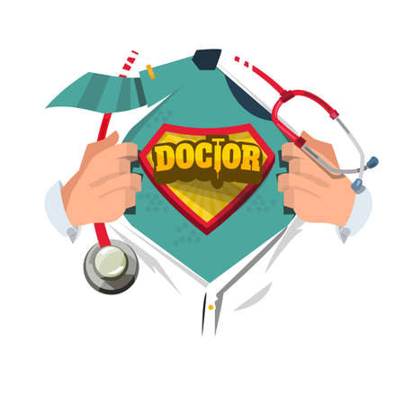 Doctor with stethoscope open shirt to show doctor typographic in cartoon style. Ilustrace
