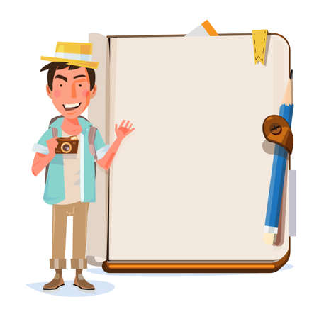 Tourist man presenting something over blank notebook. character design. travel and presentation concept - vector illustration Illustration