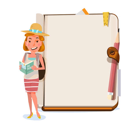 Tourist girl presenting something over blank notebook. character design. travel and presentation concept - vector illustration