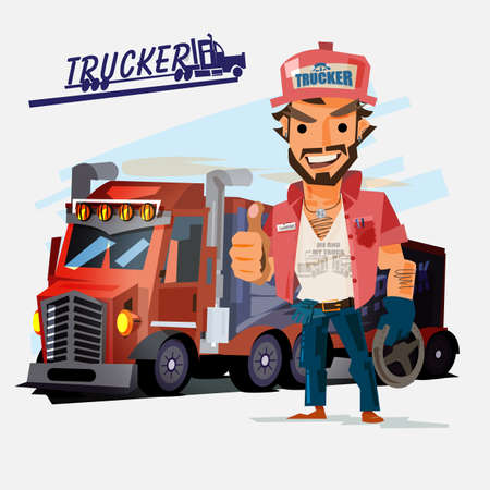 Truck driver with big truck on white background. Illustration