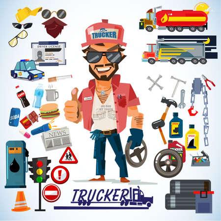 Bestuurder, Trucker. Vrachtwagenchauffeur Characterdesign met icon set. typografisch ontwerp - vectorillustratie