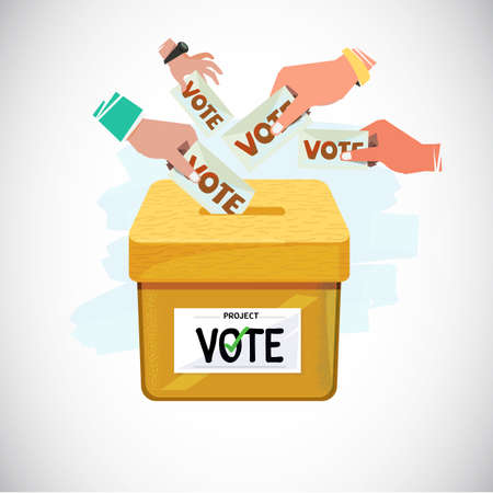 손을 상자에 넣는 투표. 투표 및 민주주의 개념 - 벡터 일러스트 레이 션