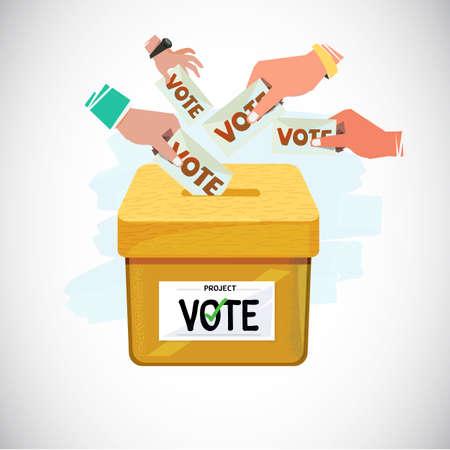 Hand, die Abstimmung in Kasten setzt. Abstimmungs- und Demokratiekonzept - Vektorillustration Standard-Bild - 87742865