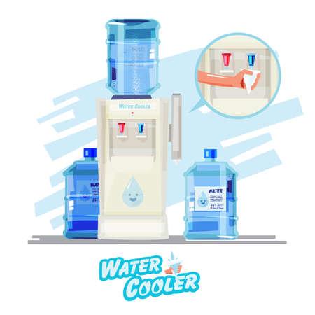 Waterkoeler, met plastic fles en papre cup - vectorillustratie