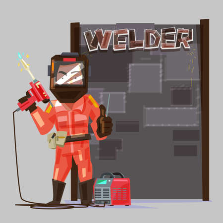 welder in a protective mask holding gas welding machine.  welded metal sheets board to presentation. character design - vector illustration