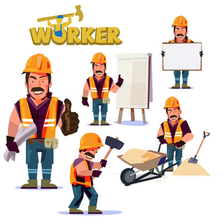 Construction Worker in action. Character design set - vector illustration Illustration