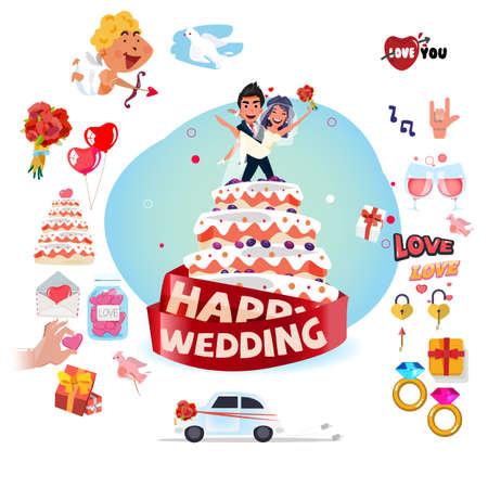Hochzeitstorte mit Hochzeitsikone eingestellt - Vektorillustration Standard-Bild - 87763397
