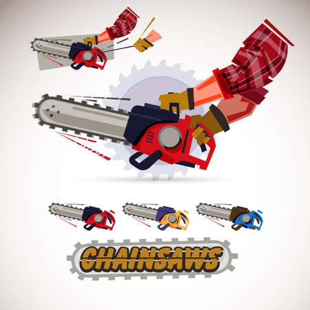Chainsaw holding by male arms . hand pulling sling to start engine. Set of chainsaws with typographic design.