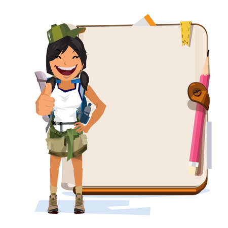 keyword: An adventure women with notebook for presentation. Illustration