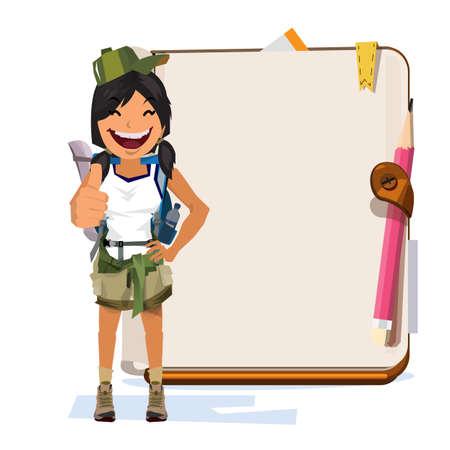 Ein Abenteuer Frauen mit Notebook für die Präsentation. Standard-Bild - 87570181