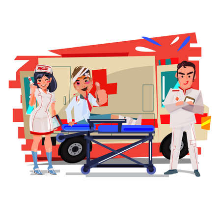 An ambulance car with doctor or  nurse with gurney and injury people.