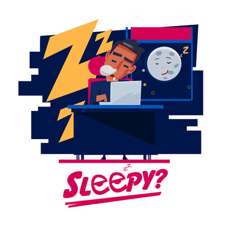 tired: Tired man sleeping at work table. Illustration