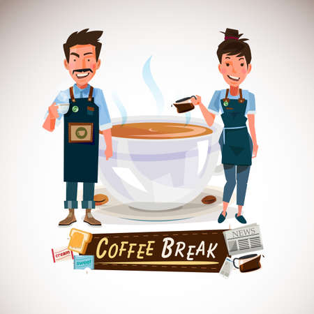 A barista with big cup of coffee. Illustration