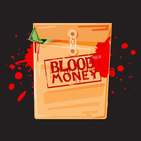 An envelope with blood money text on a black background. Vectores