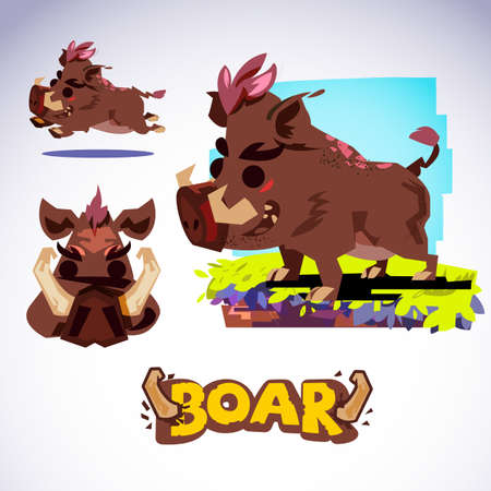 Boar in cartoon ans mascot style.
