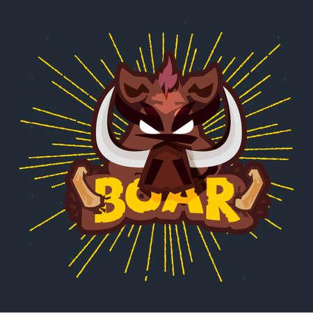 Wild boar head vector illustration on black background. Illustration