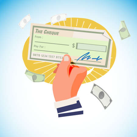 hand with cheque - vector illustration