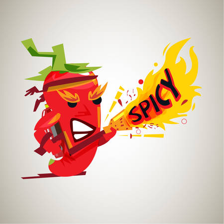 Chili mascot with fire gun. character design of hot and spicy - vector illustration