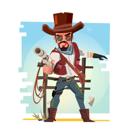 Smart cowboy holding his gun and aiming the guns. character design - vector illustration