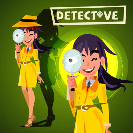 cute detective girl holding magnifying glass to watchin. character design - vector illustration
