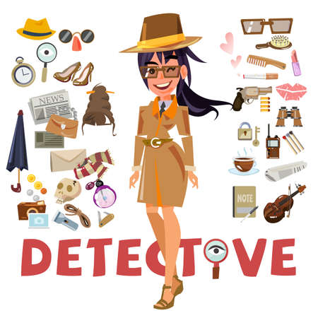 detective female character design with equipment. icon set elements. typographic design - vector illustration Stok Fotoğraf - 87660881