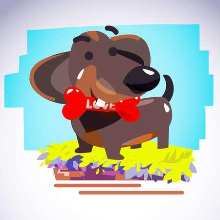 dachshund dog holding bone of love. love bone concept - vector illustration Illustration