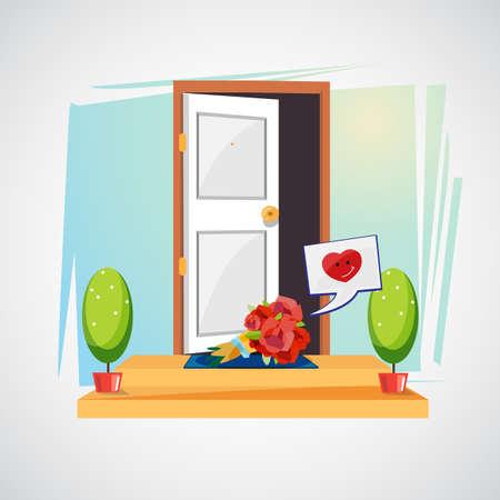 집 문 앞에 꽃다발 꽃입니다. 사랑 개념 - 벡터 일러스트 레이 션의 놀라움입니다.