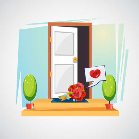 bouquet flowers in front of house door. surprise of love concept - vector illustration.