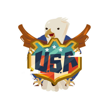 American eagle with USA badge shield. freedom and independence concept - vector illustration Imagens - 87660884