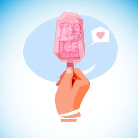 """아이스크림 막대기 안에 """"I Love 아이스크림""""타이포그래피 디자인이 손에 든다. 여름 개념 - 벡터 일러스트 레이 션 일러스트"""