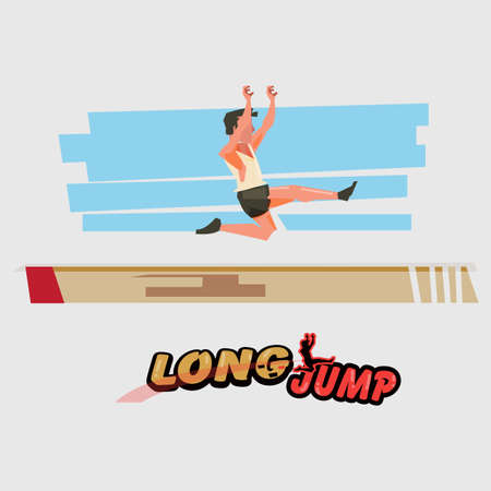 Long jump athlete in  action with typographic - vector illustration Иллюстрация