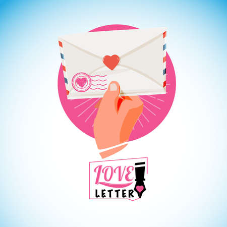 Hand with love letter, typographic design - vector illustration